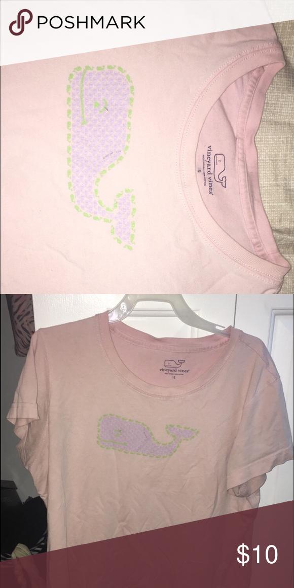 dcf104a3e349 Women's L Vineyard Vines shirt Women's large baby pink vineyard vines shirt  slightly worn and slight black pen marks on whale but very cute!