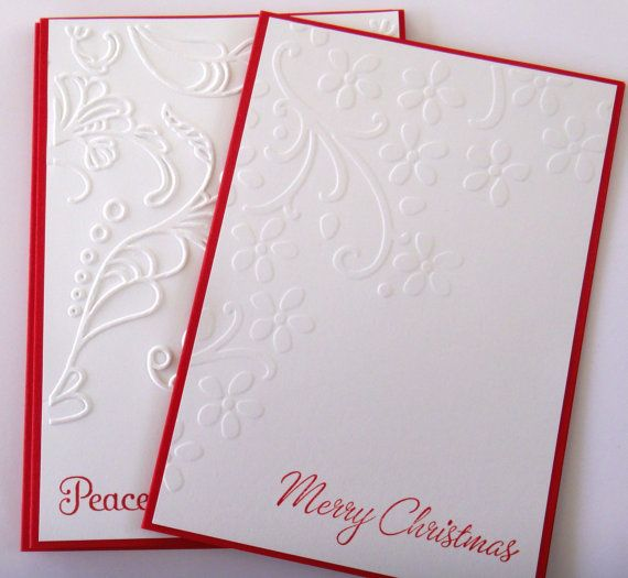 Handmade christmas cards bright red white by for Elegant homemade christmas cards
