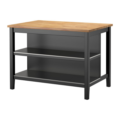 Stenstorp Kitchen Island Black Brown Oak