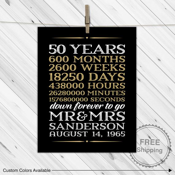 50 Years Married Gifts Part - 34: Parents Wedding Anniversary Gift Ideas   50 Years Of Marriage   Printable,  Print Or Canvas