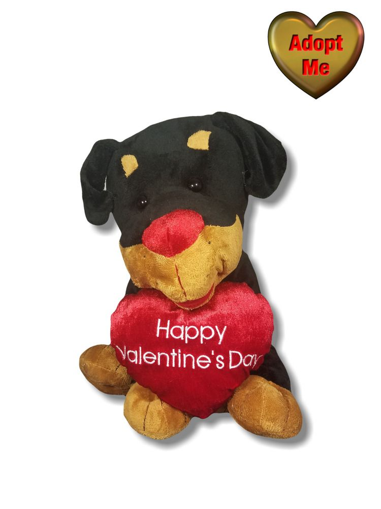 Walmart Happy Valentines Rottweiler Puppy Dog With Heart Stuffed