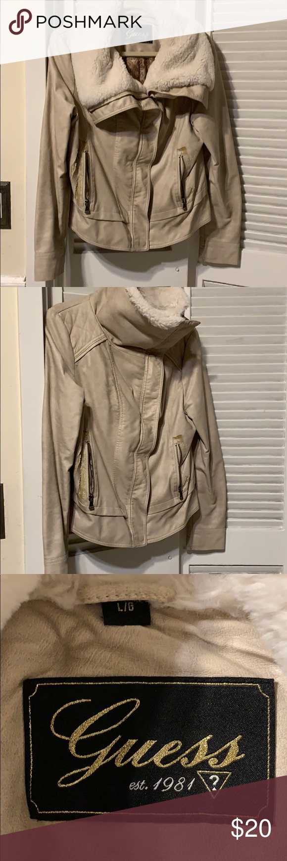 Guess jacket Jackets, Leather look jackets, Faux fur collar