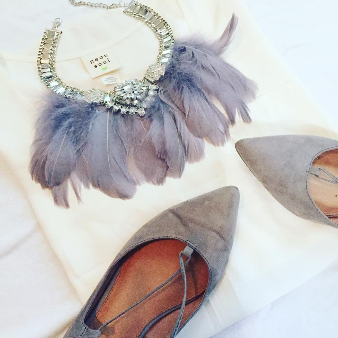 Ok but seriously, a flat lay with a Feather Statement necklace. Lace up flats for the win.