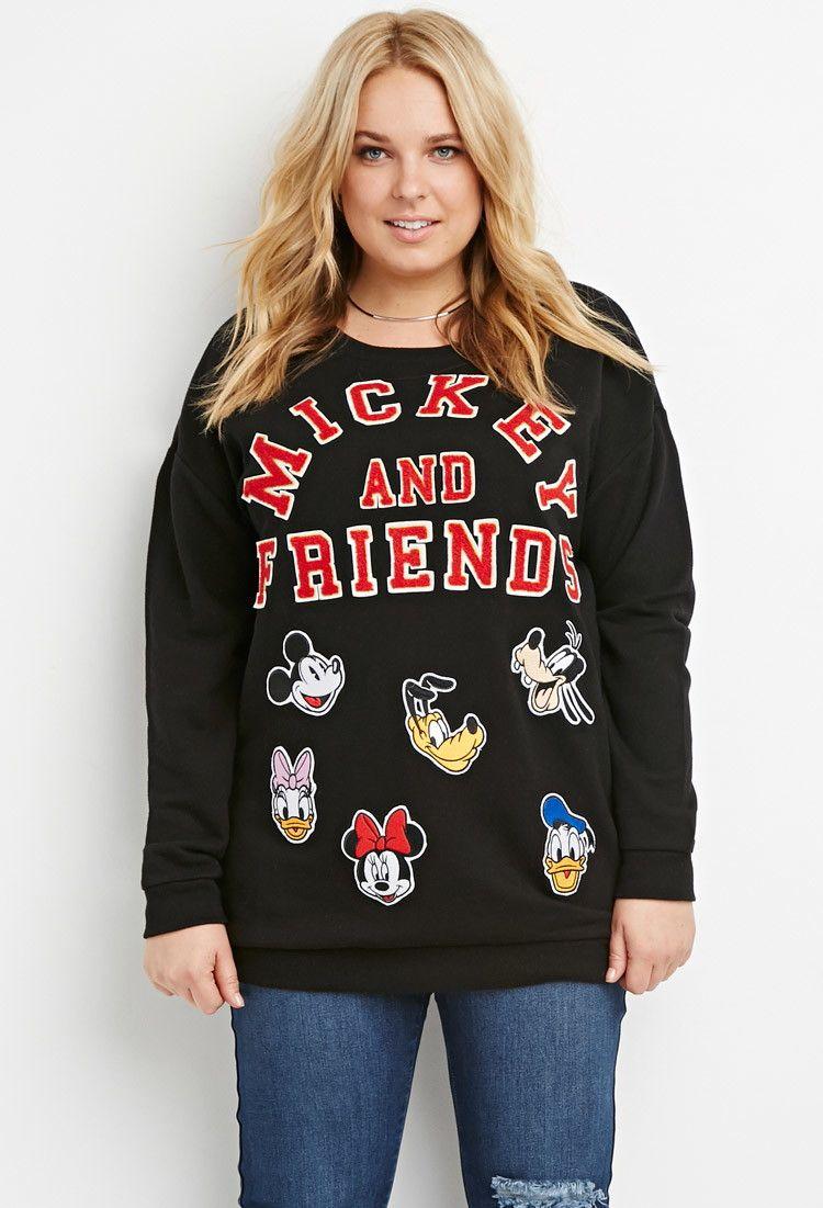 Mickey Patch Sweatshirt Patch Sweatshirts Plus Size Outfits Sweatshirts [ 1101 x 750 Pixel ]