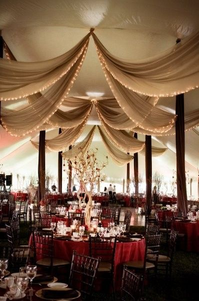Tented Reception Inspiration in 2019 Wedding ceiling Wedding draping Wedding tent decorations