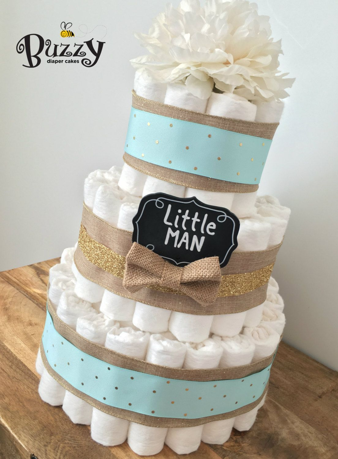 Little Man Boy Diaper Cake Spa Blue Burlap 3 Tier Baby Shower Centerpiece Cakes