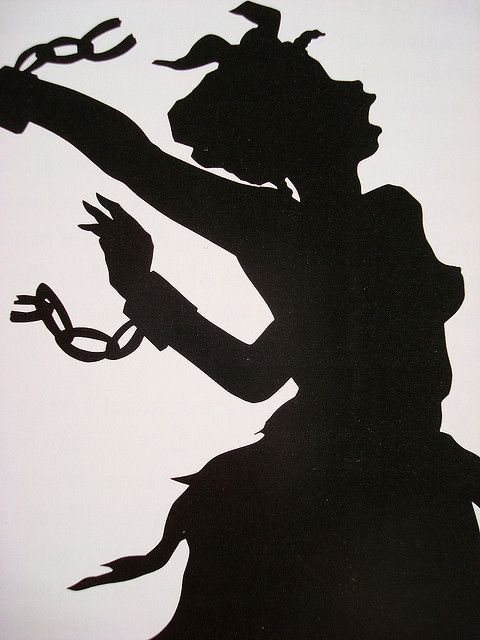 Work by Kara Walker, contemporary African American artist who explores race, gender, sexuality, violence and identity in her work. She is best known for her room-size tableaux of black cut-paper silhouettes, such as The Means to an End--A Shadow Drama in Five Acts.