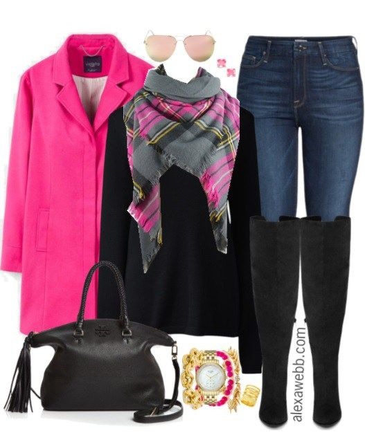 Plus Size Pink Coat Outfit Otoño, Otoño invierno y Invierno