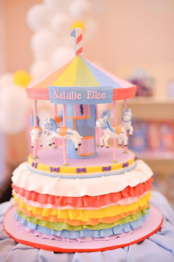 Here We Go Round the Merry Go Round Carnival birthday cakes