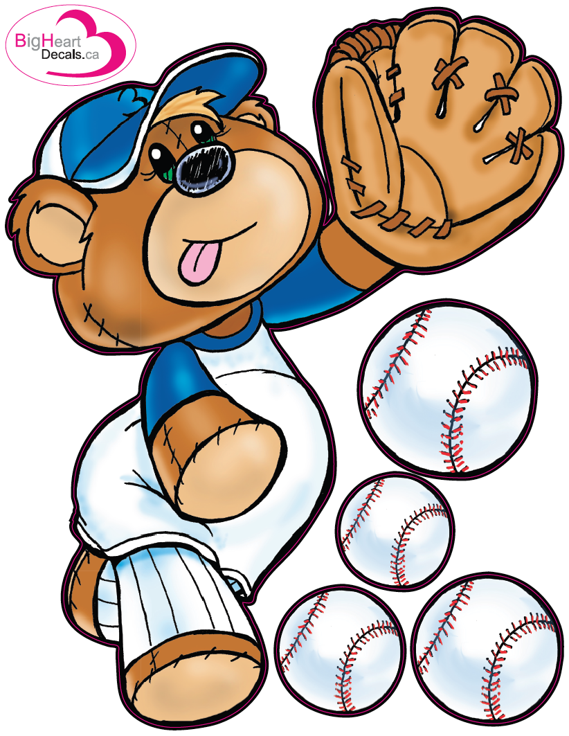 Baseball Bear 1 From Big Heart Decals Inc Made In Canada Fabric Stickers Or Wall For Nursery Kids Playrooms Sticks On Walls Windows And Flat