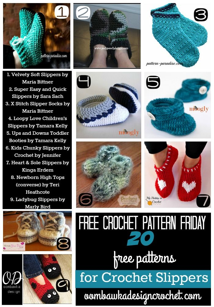 20 Free Patterns for Crochet Slippers | Crochet zapatos, Ropita de ...
