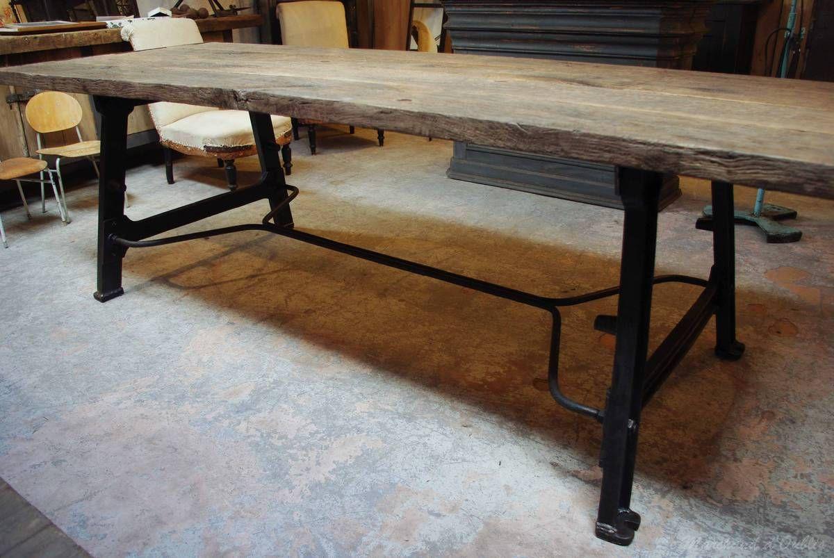 table industrielle métal & bois par le marchand d'oublis | cuisine
