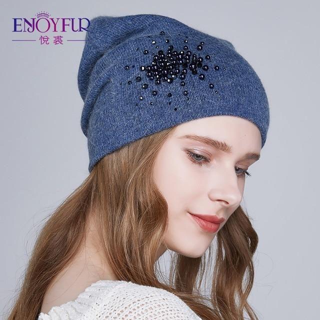 8ad902a2666 ENJOYFUR Winter knitted hats for women warm lining rhinestons beanies hat  female brand new good quality angora wool caps