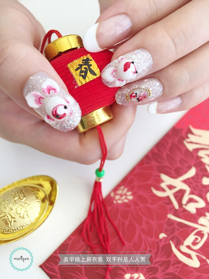 Chinese New Year Nail Art CNY Manicure Móng tay và Hoa