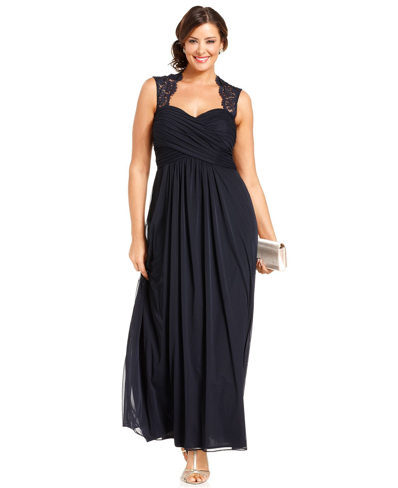 Xscape Plus Size Dress, Sleeveless Lace-Back Empire-Waist - Plus ...