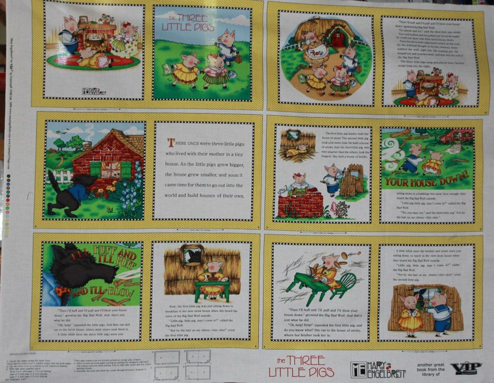 Items Similar To Mary Engelbreit Fabric Book Panel 3 Little Pigs Nursery Rhyme Quilt Blocks Liques Mother Goose On Etsy