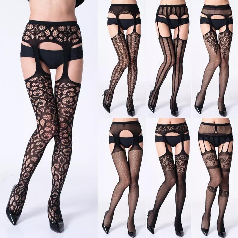 Womans Fishnet Stockings Thigh High Transparent Suspender Lace Pantyhose Garter Tights High Waist Underwear