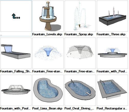 Sketchup water features 3d models download autocad revit for 3d pool design software free download