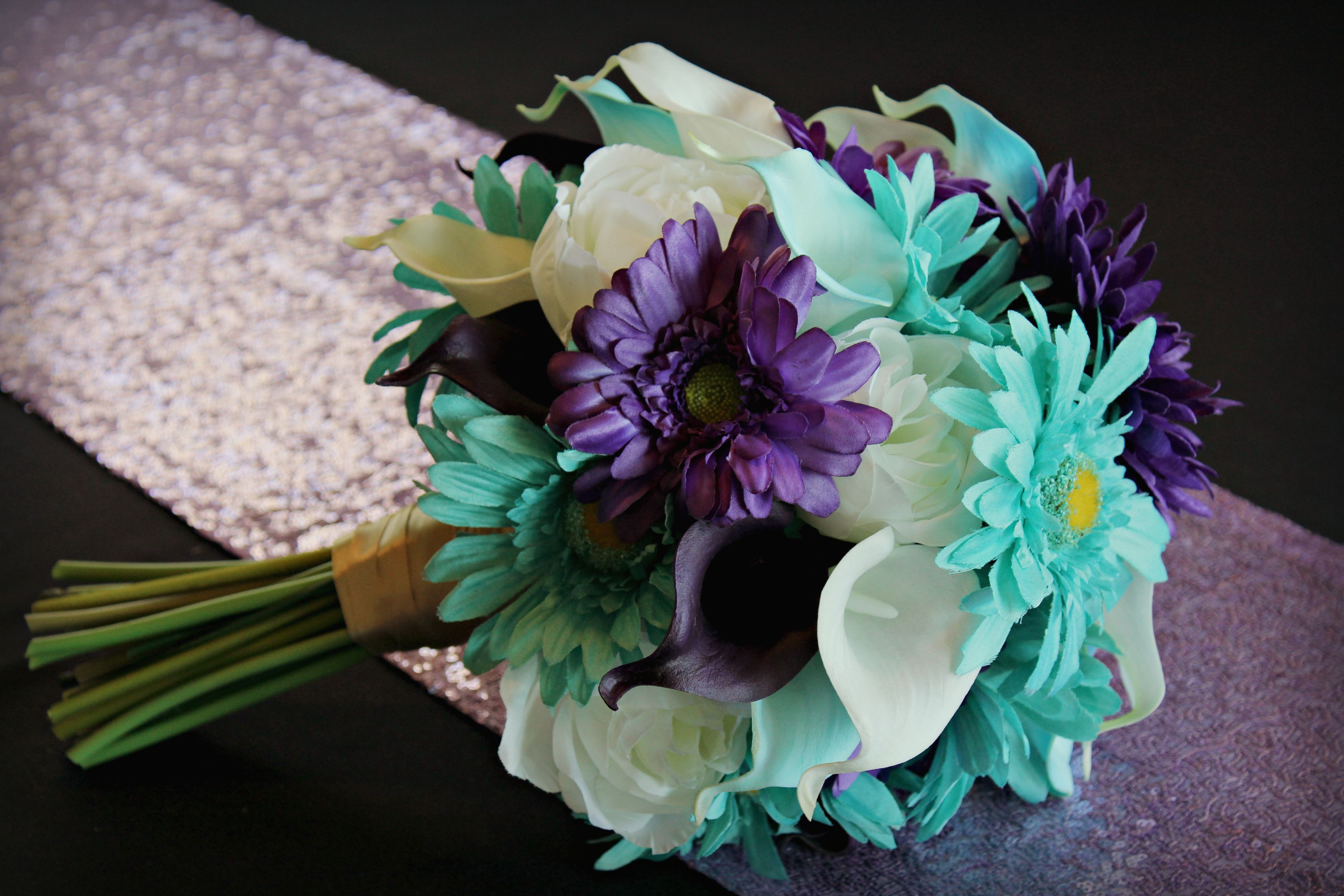Purple Teal And Aqua Wedding Bouquet With Artificial Calla Lilies