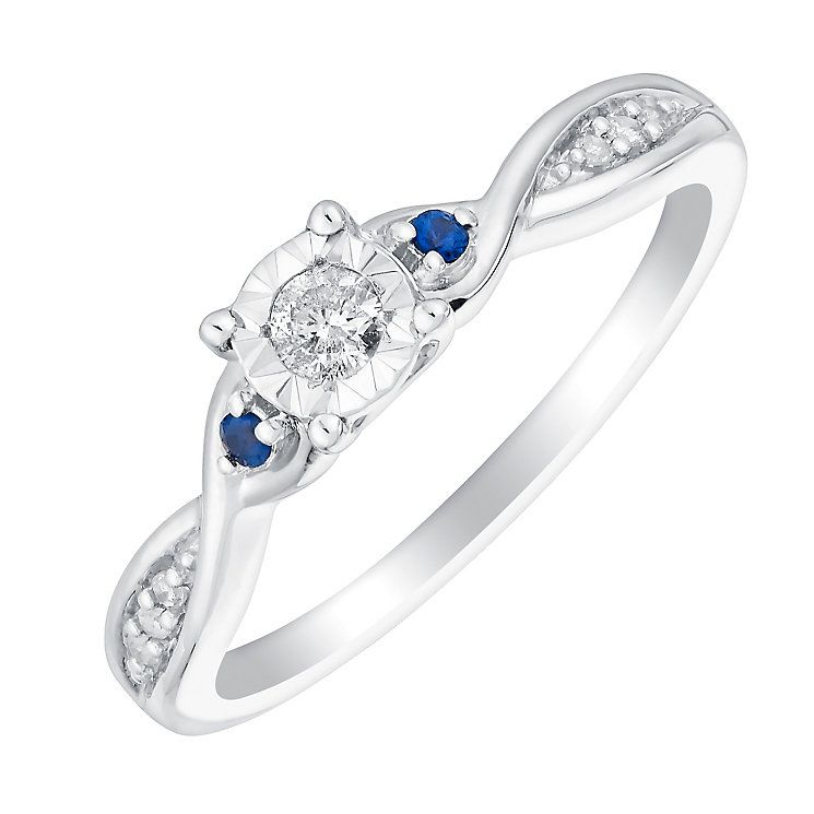 c08c73c0e 9ct White Gold Illusion Set Diamond & Sapphire Ring - Product number 3005666
