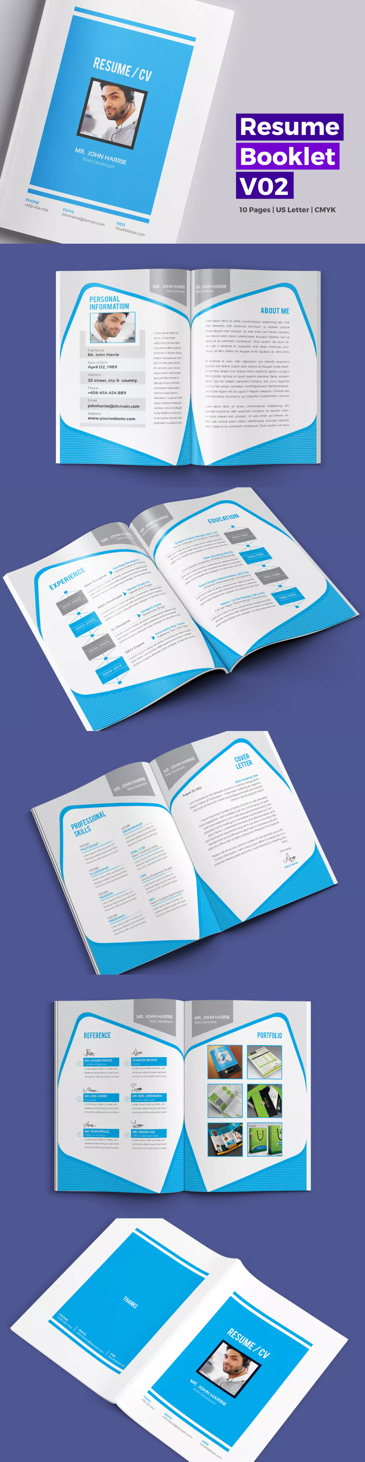 10 Pages Resume / CV / Bio Data Booklet Template InDesign INDD ...