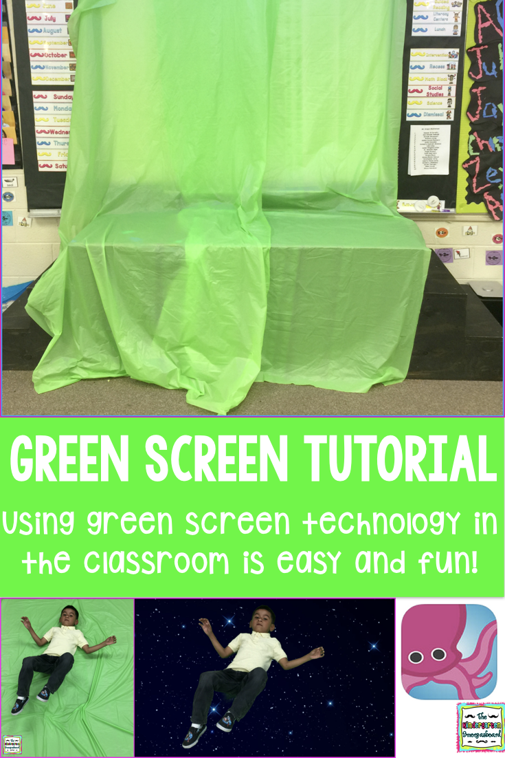 Green Screen Technology In The Classroom   The Kindergarten Smorgasboard is part of information-technology - This post shows how to bring green screen technology into the classroom using some table covers and an app for your phone or ipad!