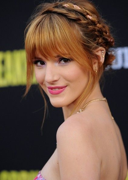 Bella Thorne Braided Updo Hairstyles With Bangs Medium Hair Styles Hair Styles