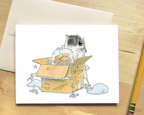 Moving Day Pug Card Housewarming Card Housewarming by InkPug