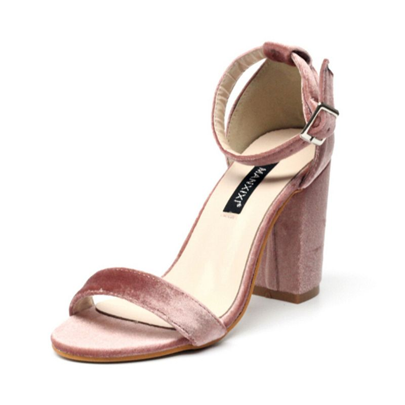 Women's High Heels Dress SandalFlock Floral Strap Square Heel Sandals For Women Ladies