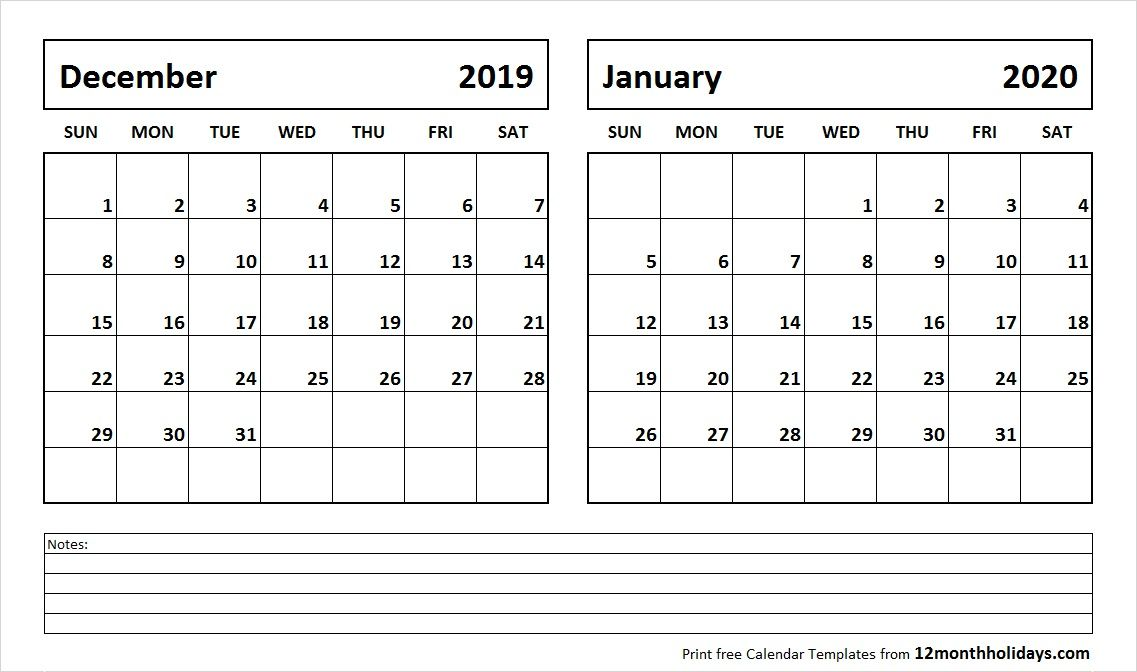 Fill In The Blank Calendar December 2020- January 2020 December 2019 and January 2020 Calendar | 2018 Calendar | 2018