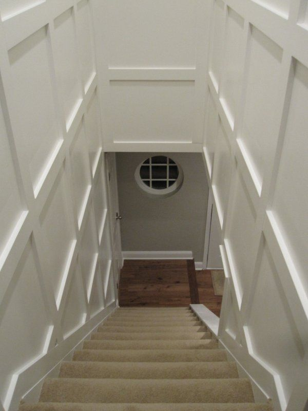 Before And After Basement Decor Stair Well Wainscoting Stairs