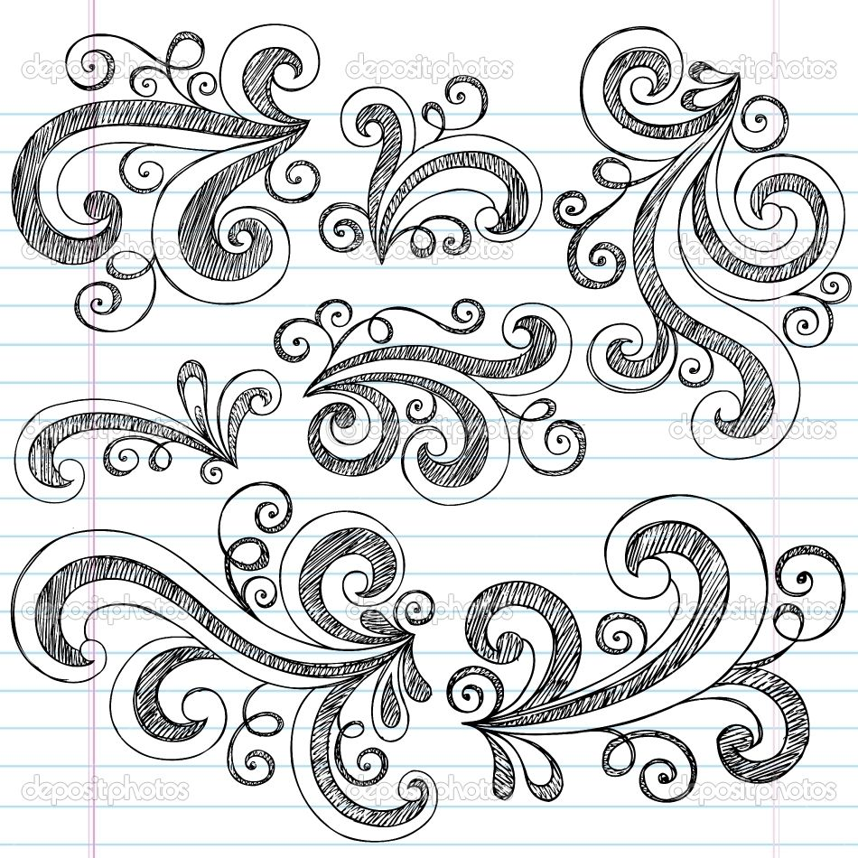 Simple doodle ideas sketchy doodle swirls vector design for Simple doodle designs with names