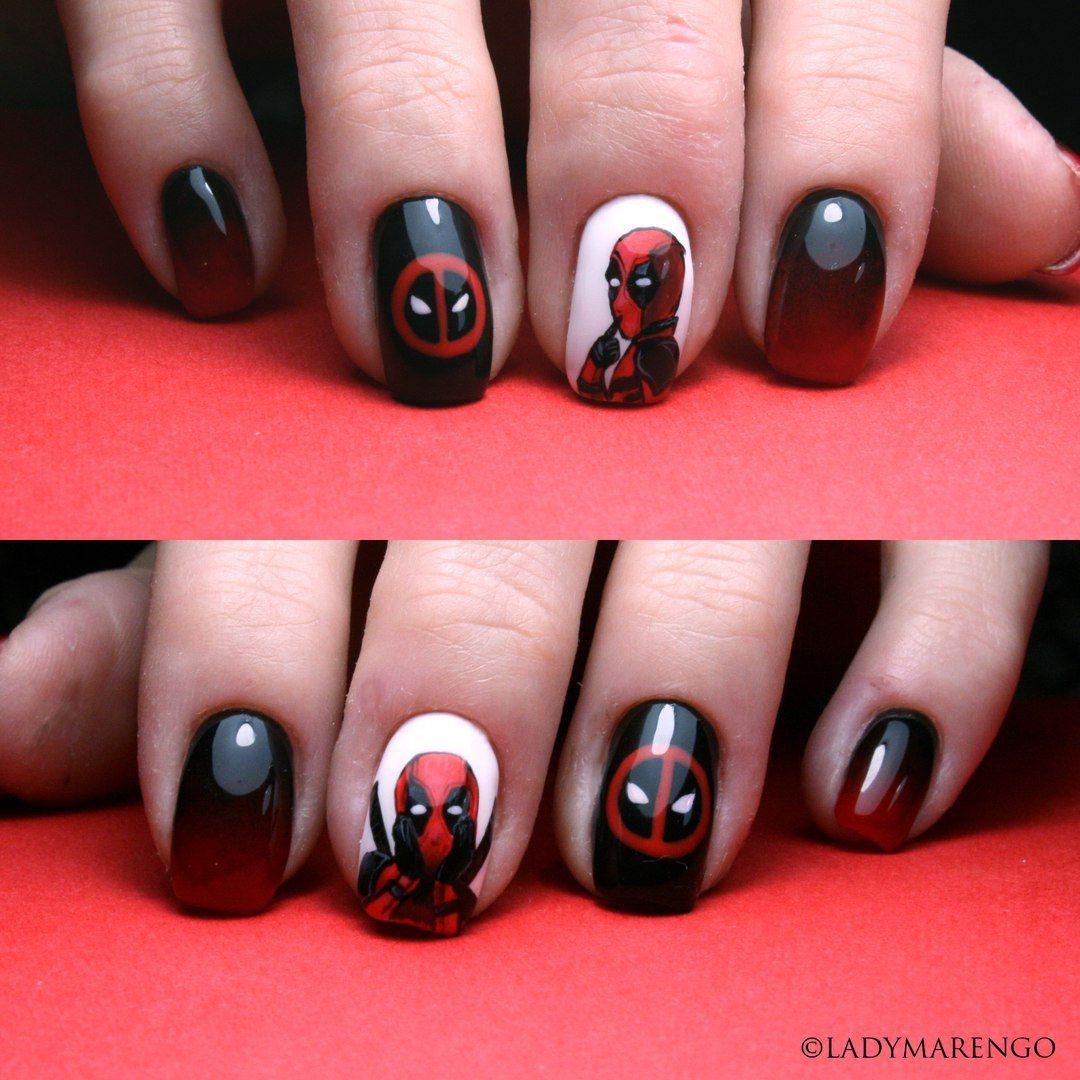 #geeknails #ladymarengo #шеллак #гельлак #нейларт #ногти #маникюр #дизайнногтей #nailart #naildesign #nails #дедпул #deadpool #marvel