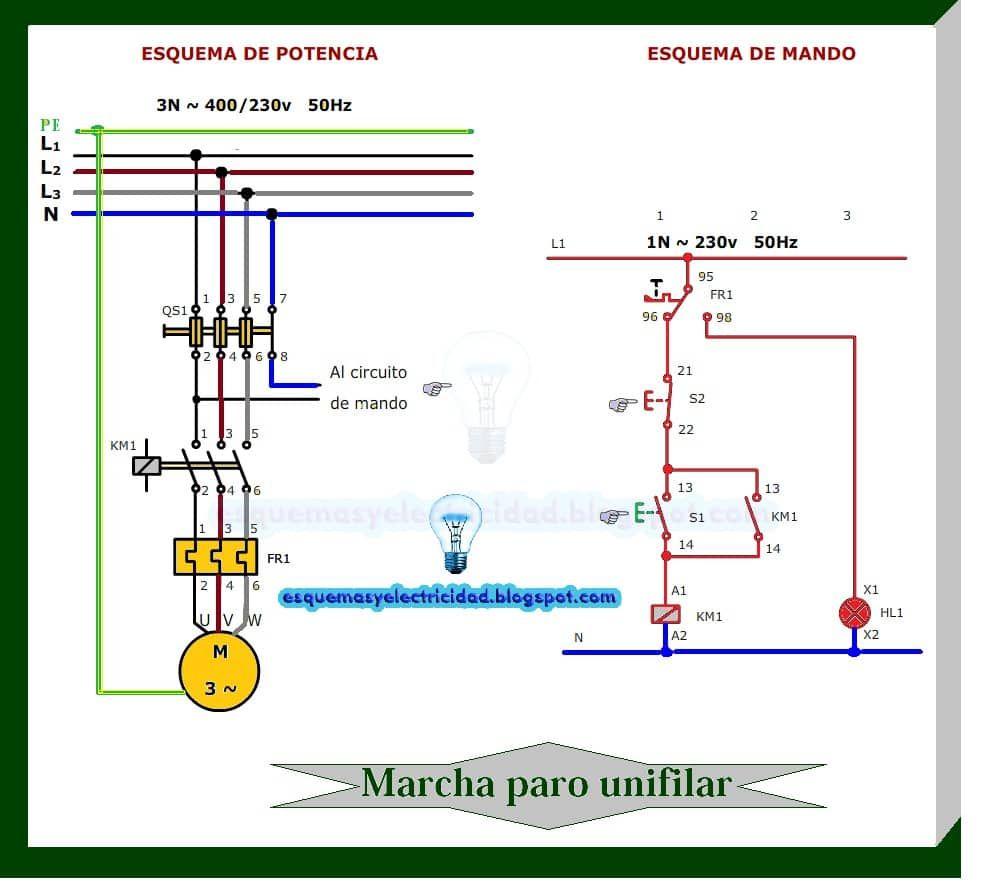 Circuito Unifilar : Marcha paro unifilar convertimage u postimage circuits