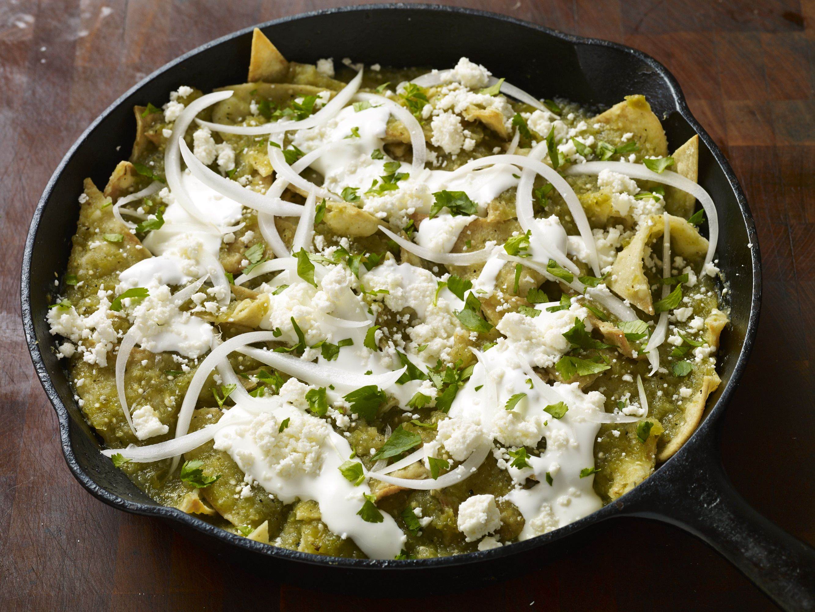 Green Chilaquiles in Roasted Tomatillo Sauce