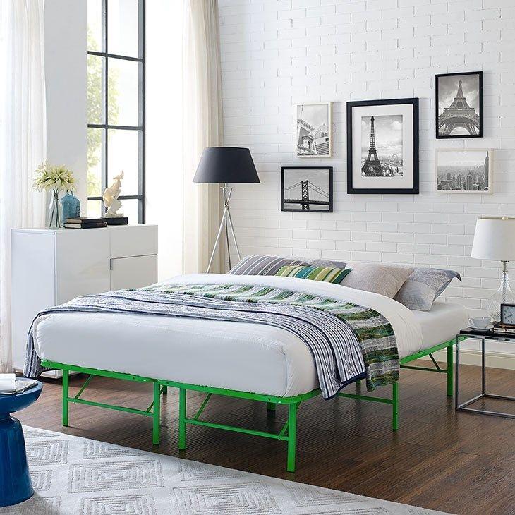 Horizon Full Stainless Steel Bed Frame In Green Steel Bed Frame