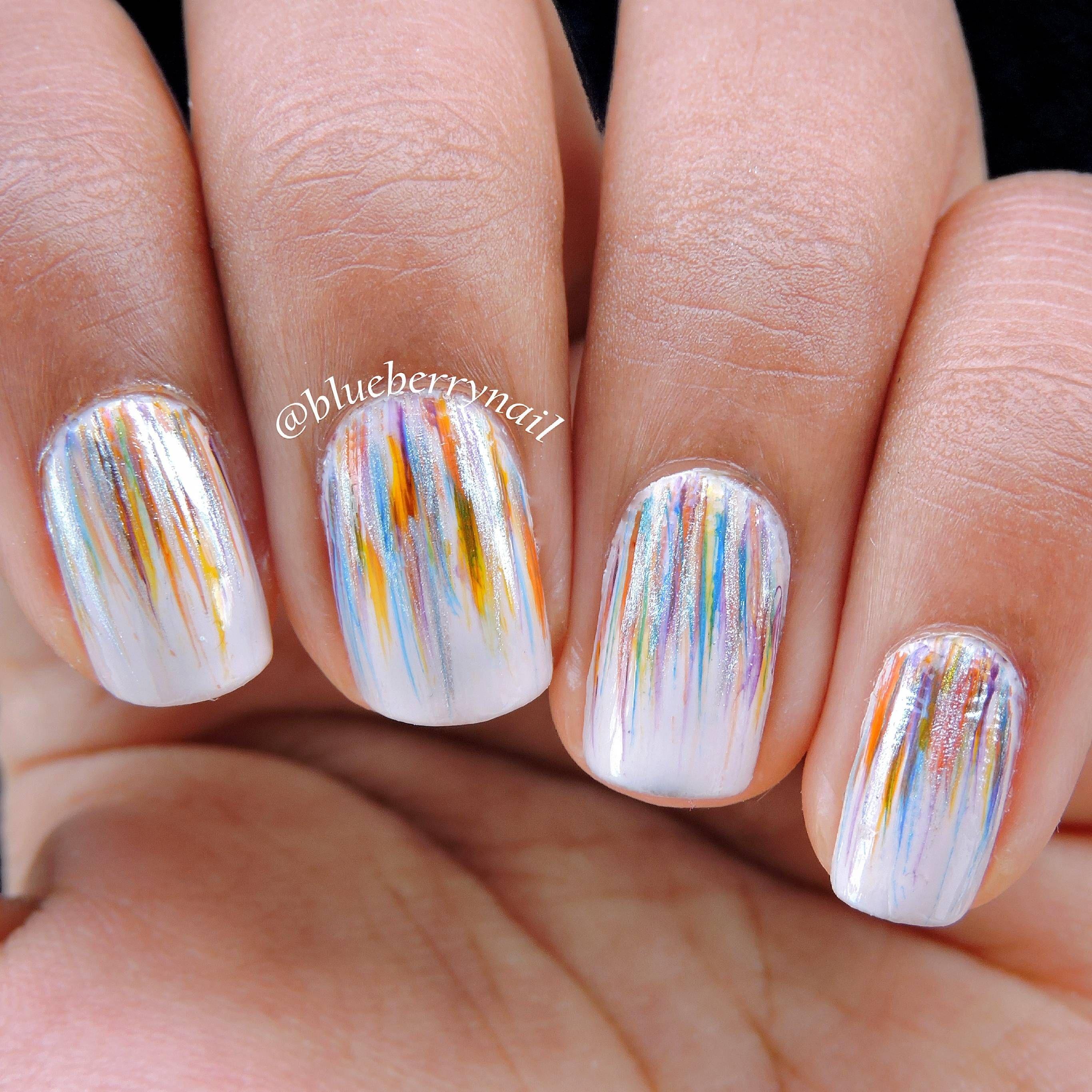 Colourful fan brush nails | Fan brush nails and Fan brush
