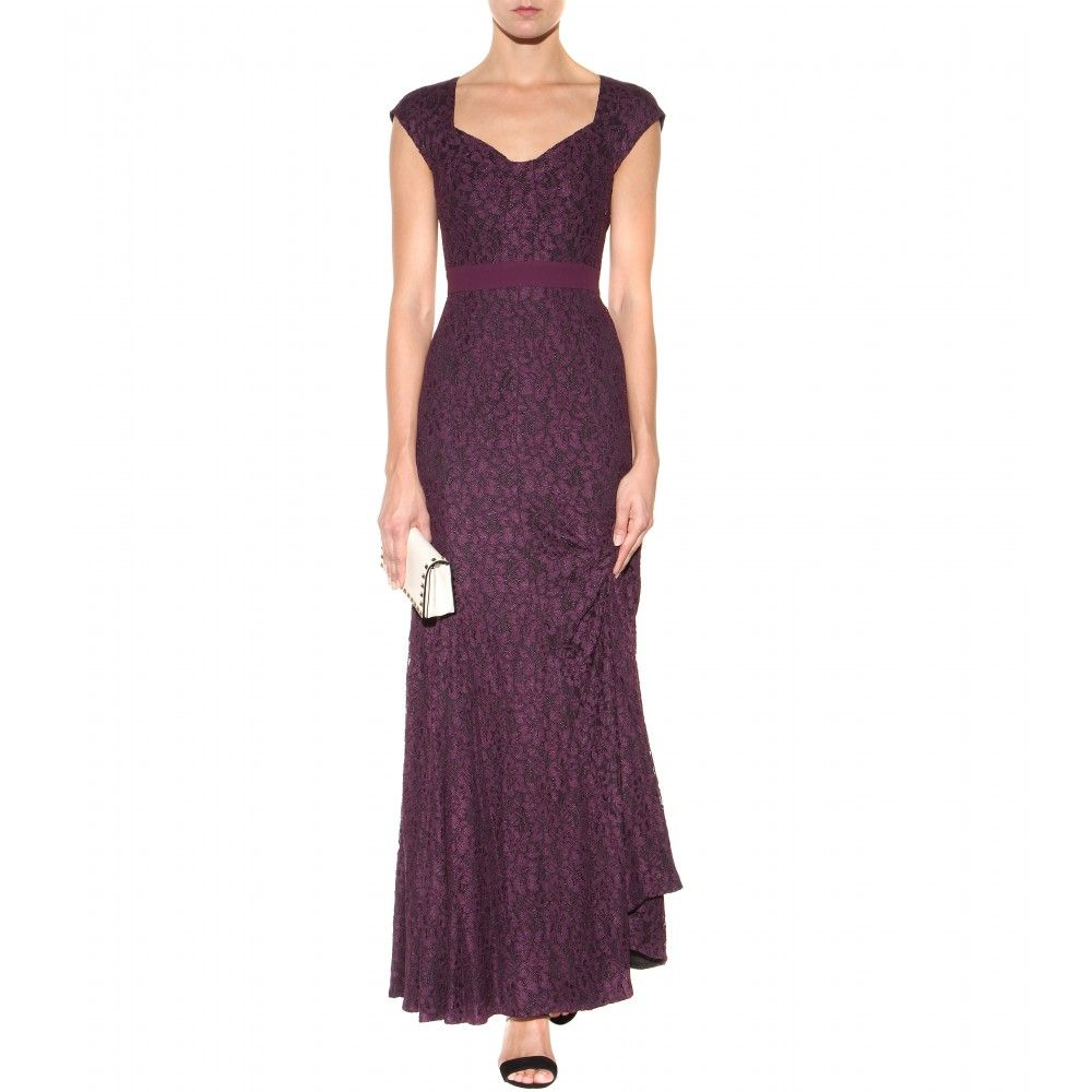 DVF plum Long lace dress