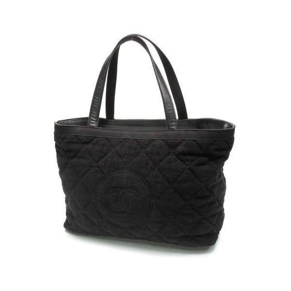 Pre Owned Chanel Black Terry Cloth Cotton Beach Tote Bag 901 Liked