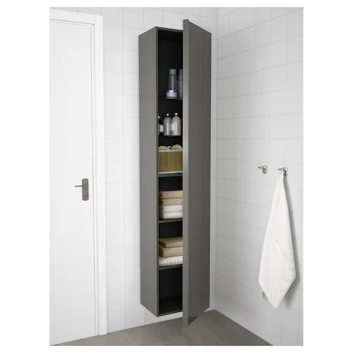 Godmorgon High Cabinet High Gloss Gray 15 3 4x12 5 8x75 5 8 Ikea In 2021 Ikea Godmorgon Tall Bathroom Storage Bathroom Tall Cabinet