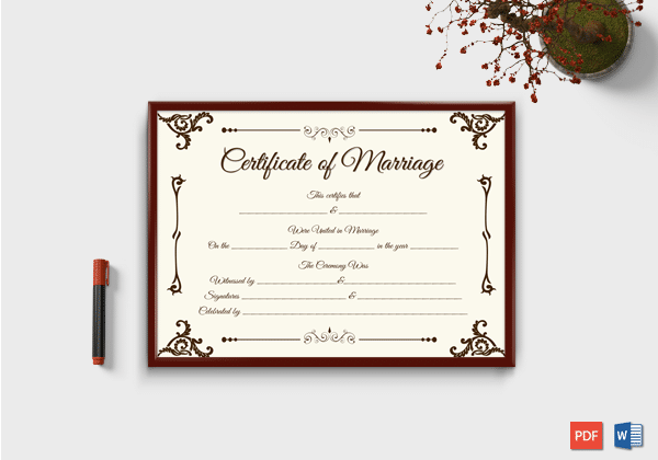 Marriage Certificate Template - 22+ Editable (For Word & PDF Format ...