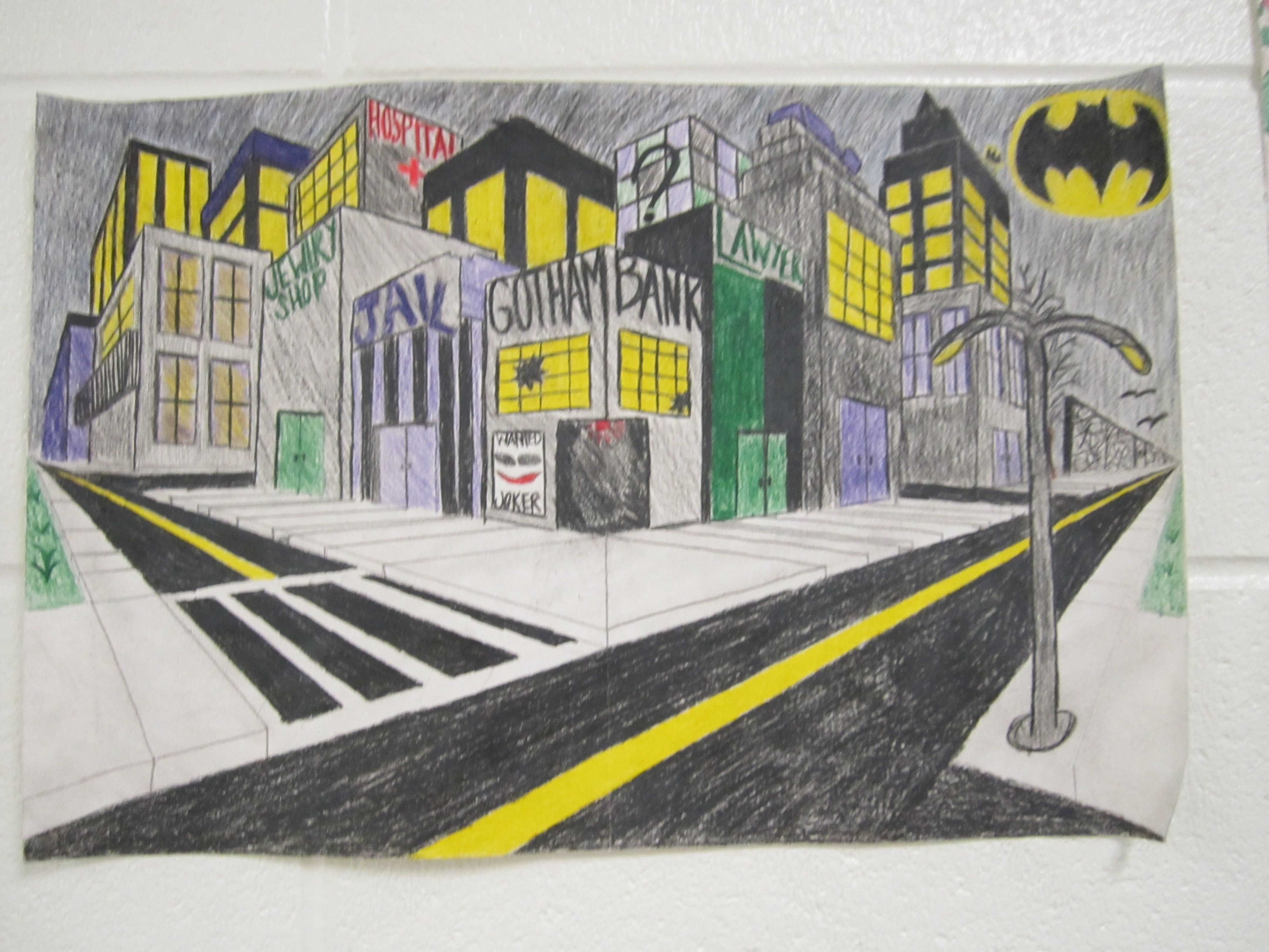City In Two Point Perspective Art