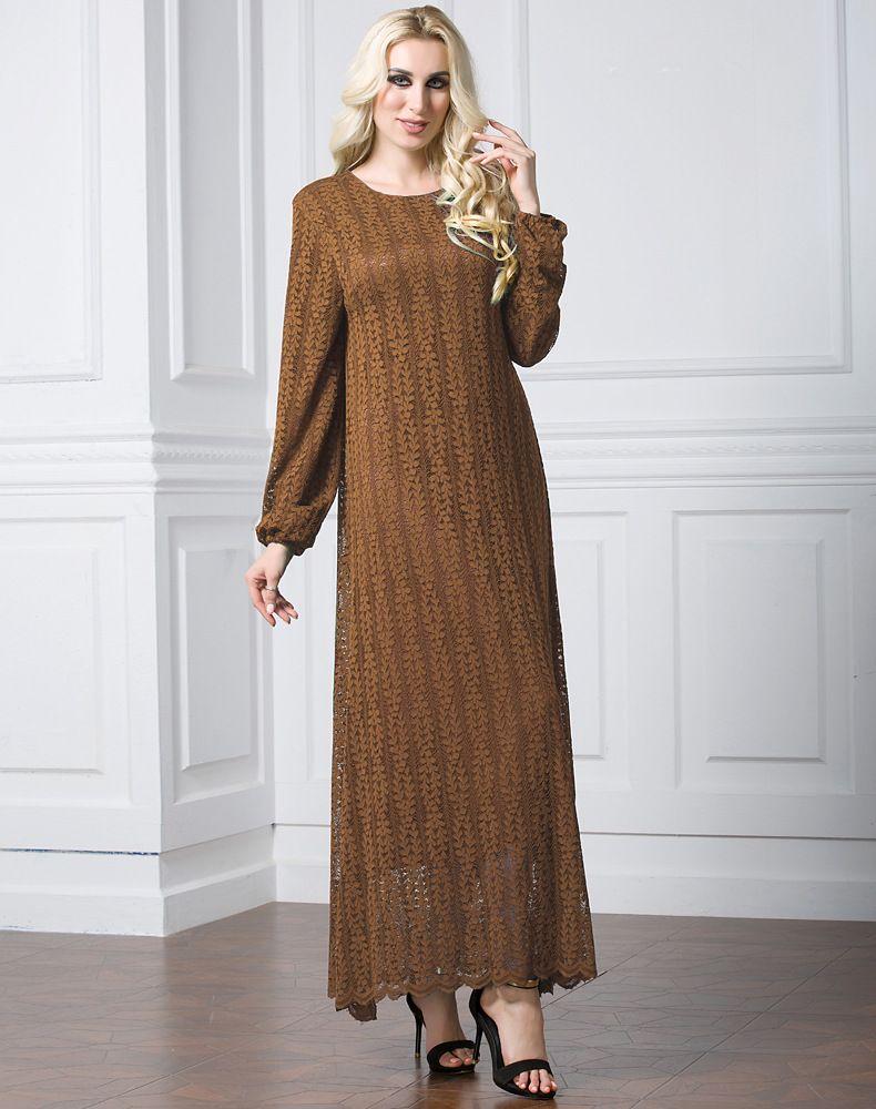 b50906e1d7a Fashionable Design Muslim Mature Women Long Sleeve Maxi Dress Islamic Lace  Dress 7Xl Plus Size Plain Khaki Black Green Lace Dress