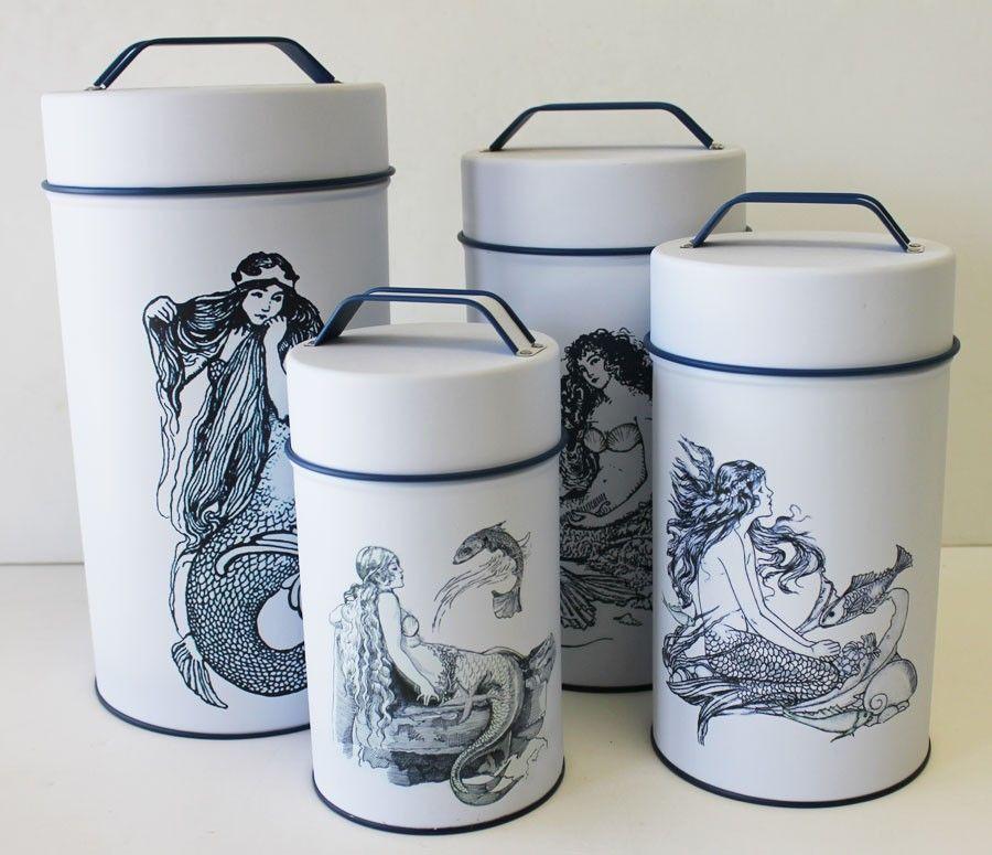 Nautical Kitchen Decor: Mermaid Cylinder Tins (Food Safe) - Set Of 4