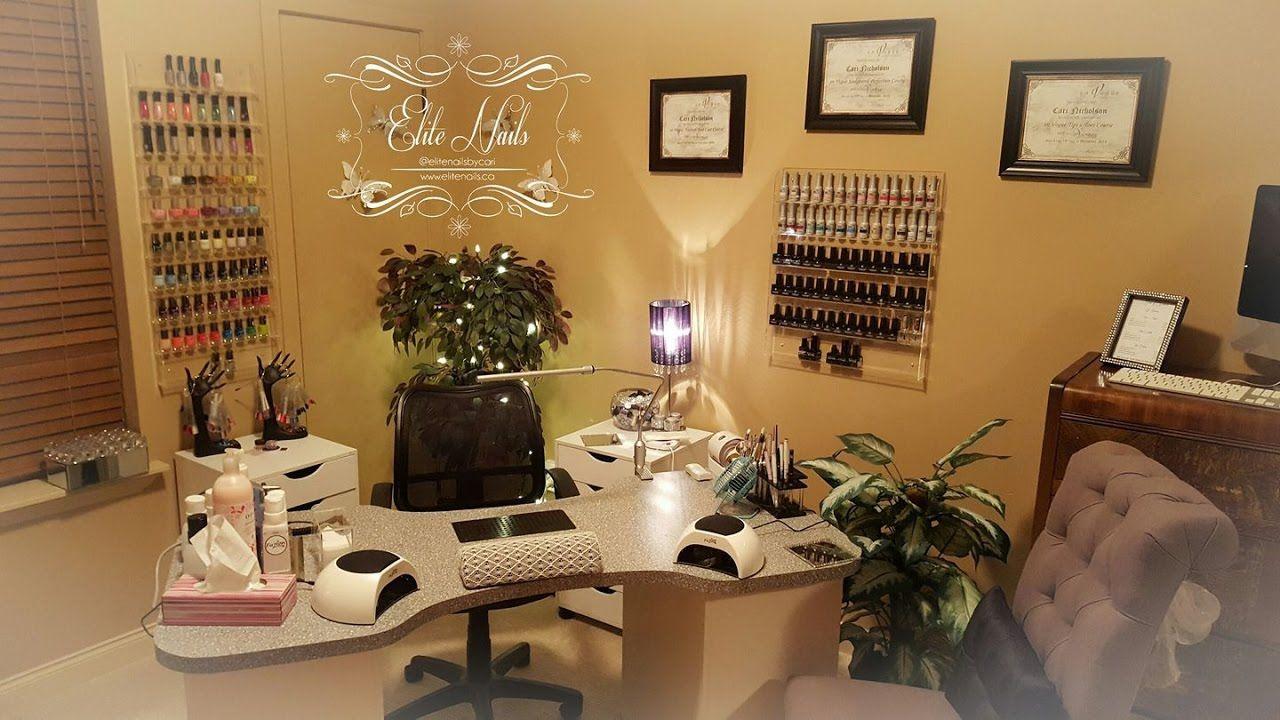 Home Nail Salon Tour Home Nail Salon Decorating Ideas Nail Technician Room Ideas Nail Room Decor Home Nail Salon Nail Salon Decor Salon Decor