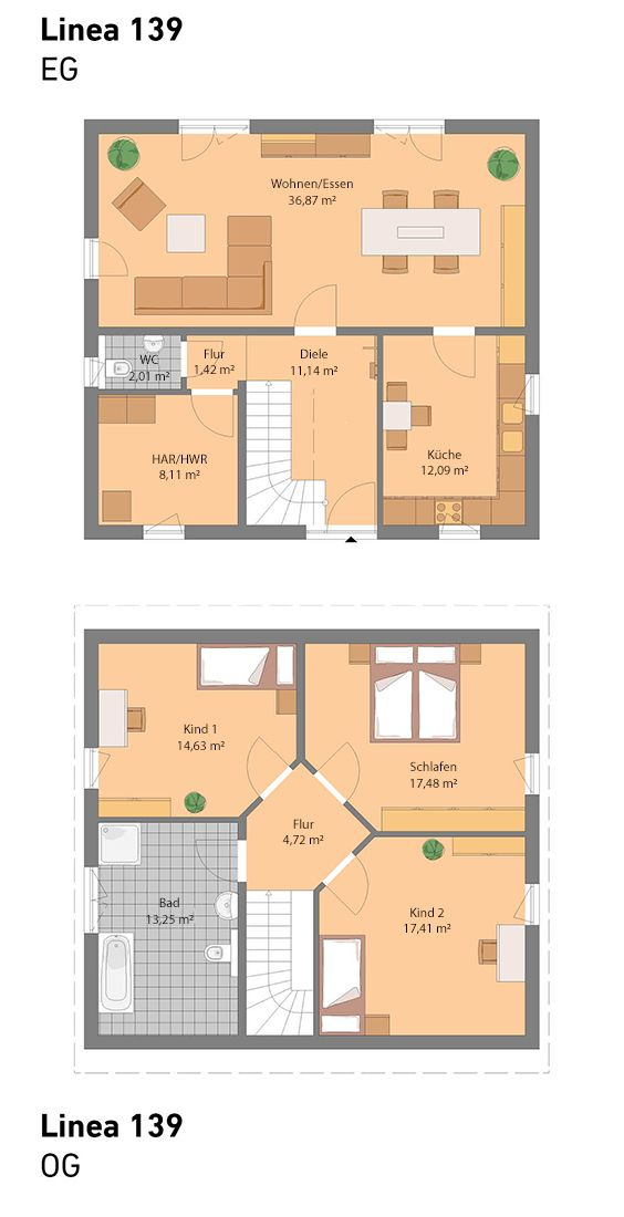 Grundriss ohne Keller (auch mit Keller möglich) | dům in ...
