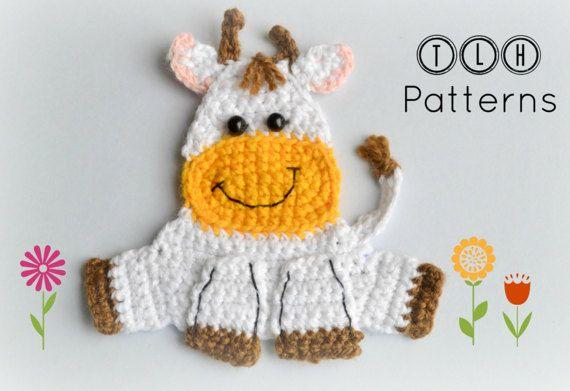Crochet applique pattern farm animal applique crochet cow applique