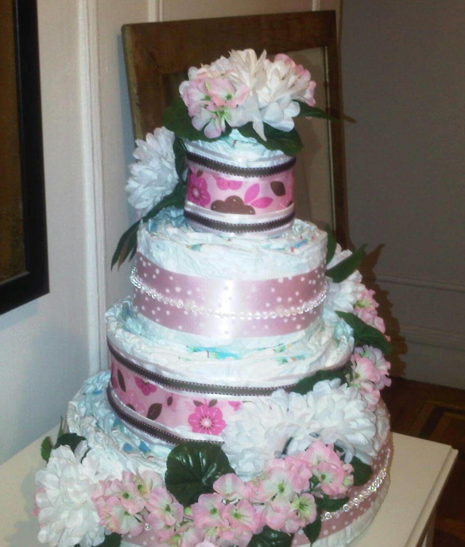 Four tier diaper cake