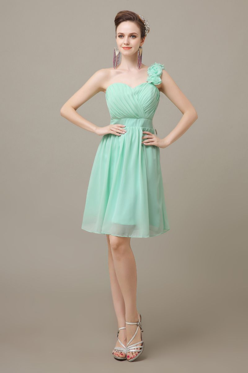 Plus size junior bridesmaid dresses gallery dresses design ideas 2016 mint green knee length chiffon one shoulder cheap simple bridesmaid dresses suppliers 2016 mint green ombrellifo Image collections