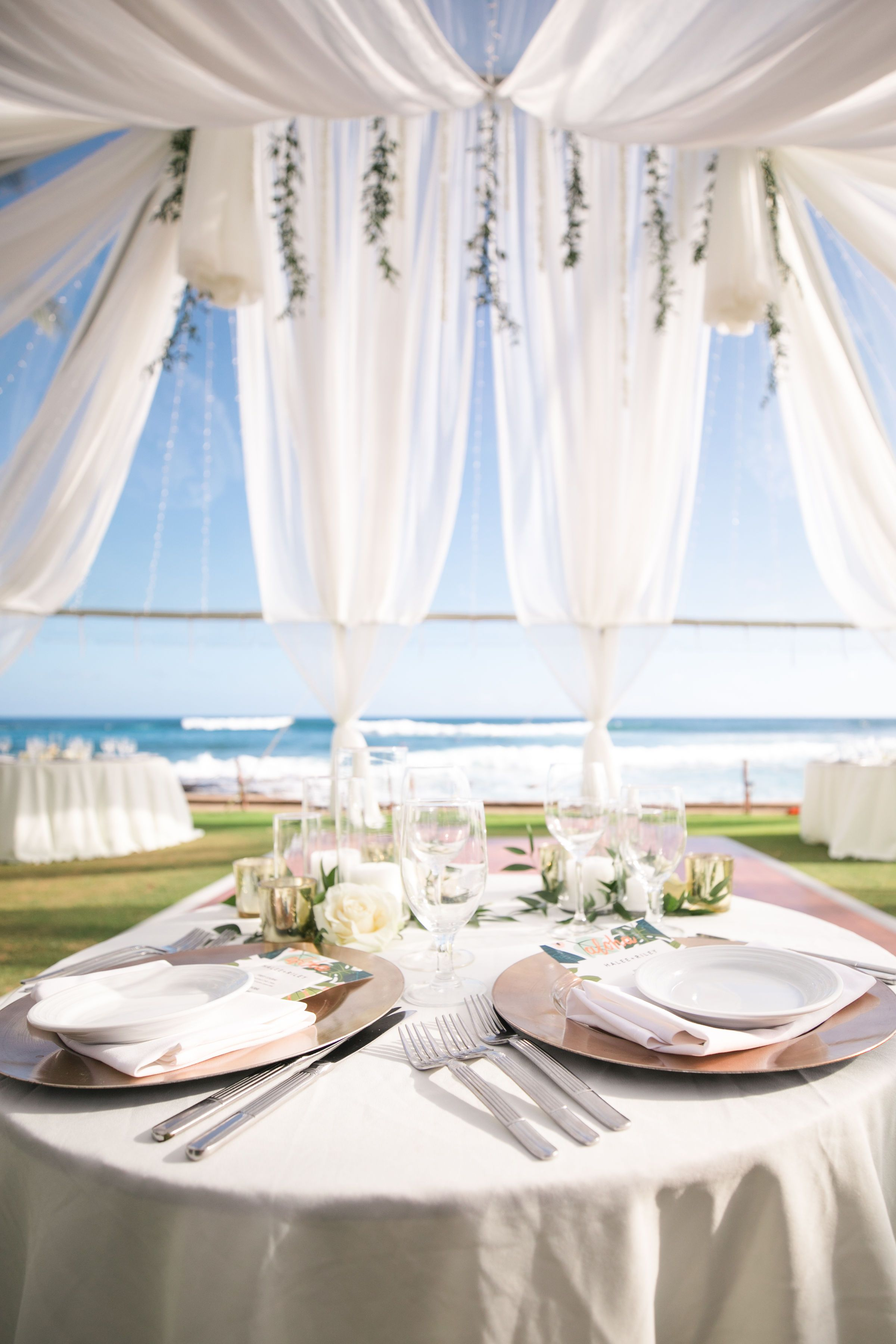 Destination Hawaii Wedding Clear Tent 30x40 40 Guests Dj